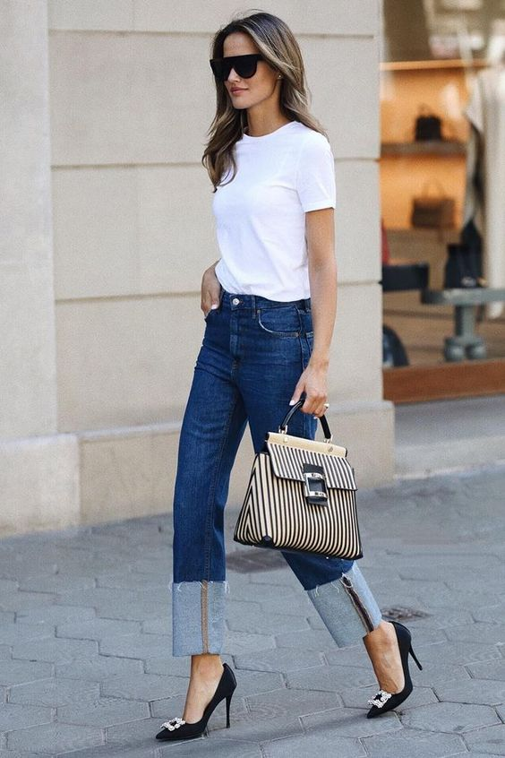 Basic white t-shirt outfit fall winter wardrobe