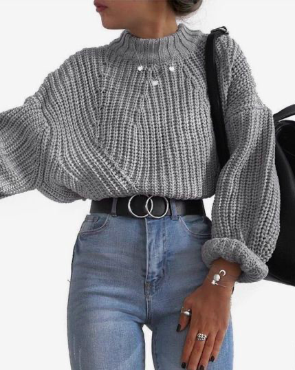 Gray sweater winter outfit