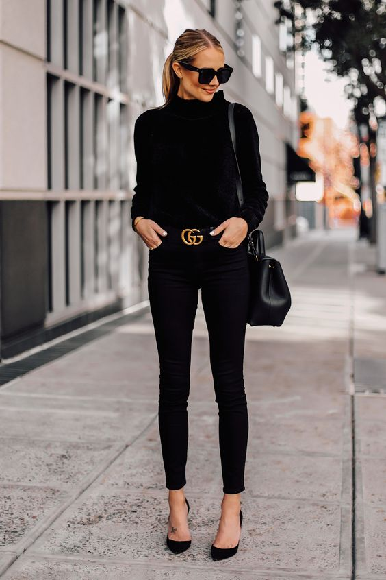 Black pumps fall winter wardrobe outfit