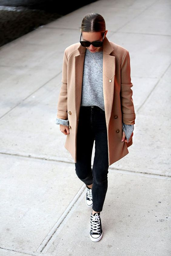 Wool Camel coat outfit