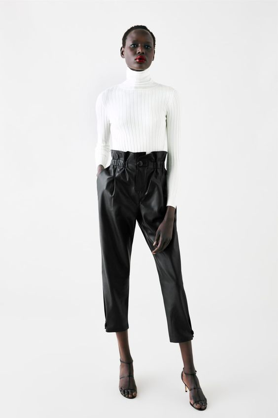paperbag black leather pants outfit