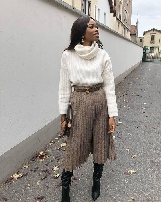 Brown midi skirt winter outfit