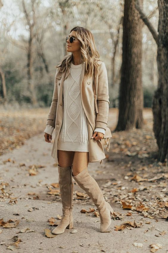 Cream sweater dress outfit