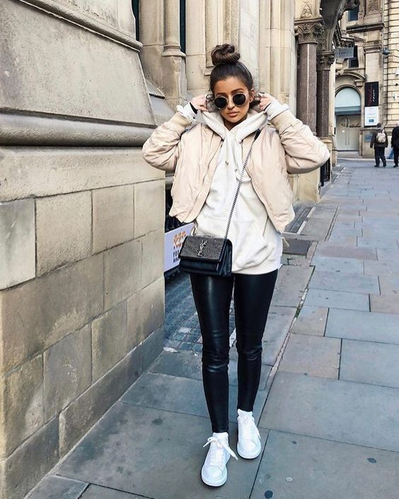 White sneakers casual fall winter wardrobe outfit