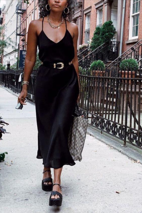 black dress with black belt outfit for spring summer