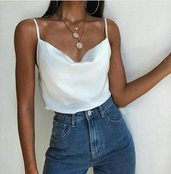 White spring summer cami top outfit