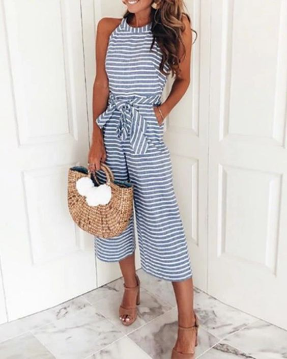 Stripped blue jumpsuit spring summer wardrobe