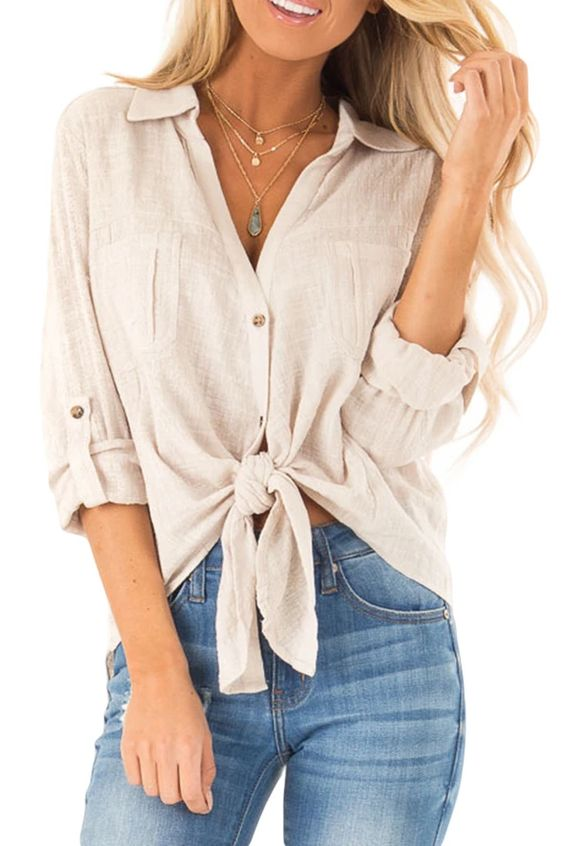 Tied up button up blouse outfit spring summer