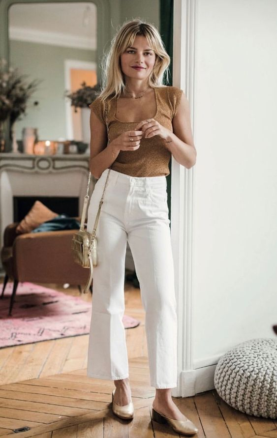 White pants spring summer outfit