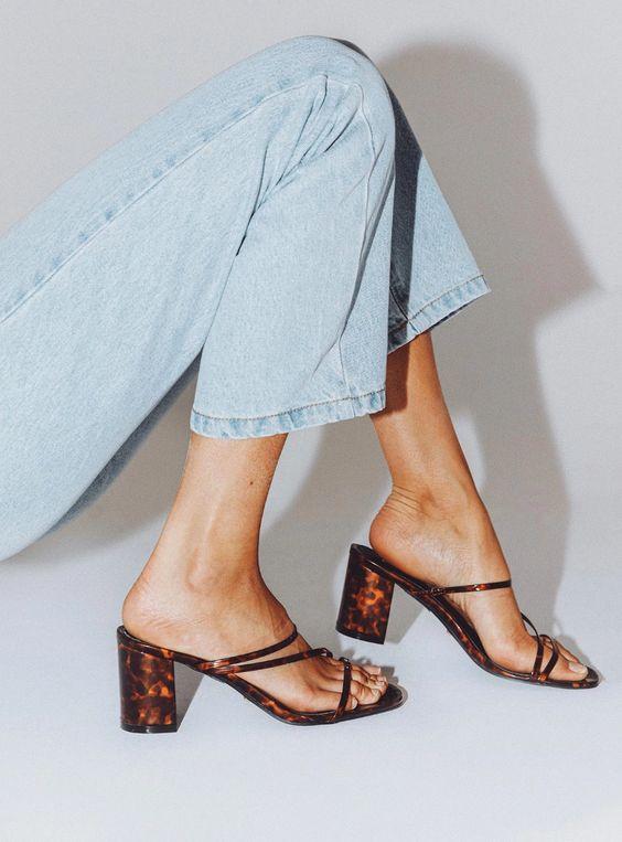 spring summer Brown mule sandal heels