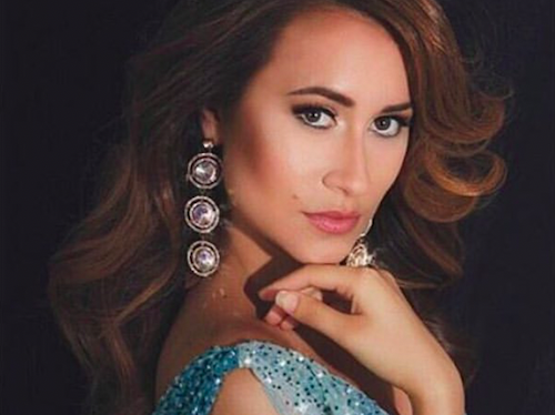Pageant headshot with chandelier earrings