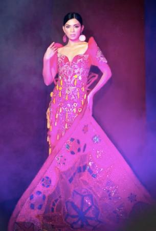 Binibining #5 wearing traditional Filipiana