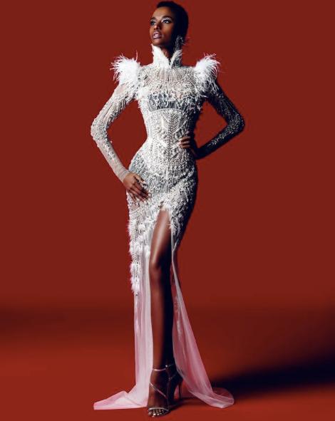 Zozibini Tunzi in Tex Savario gown