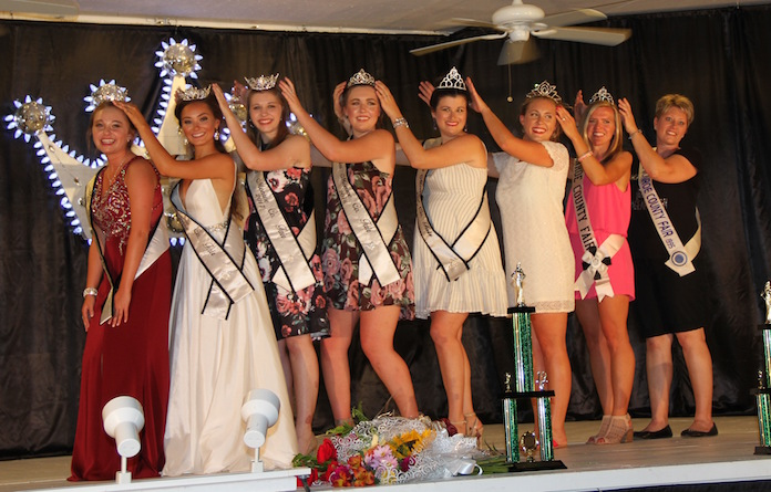 Pageant contestants on stage crowning