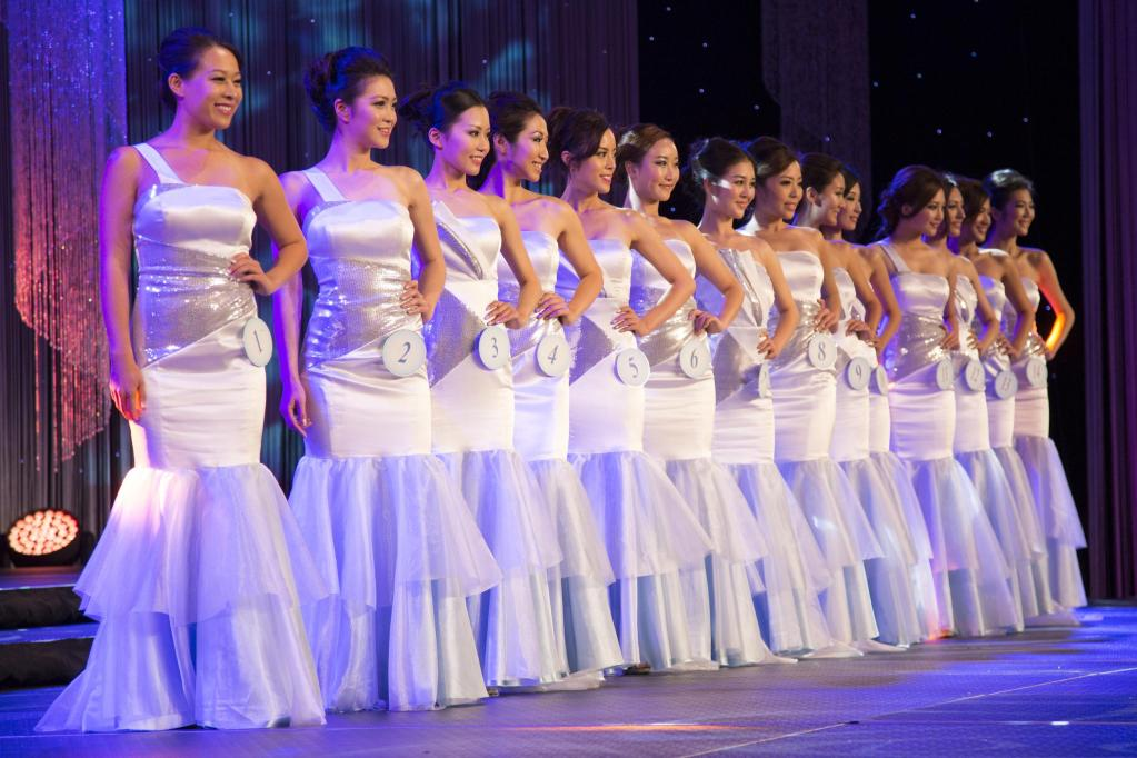 Pageant contestants on stage