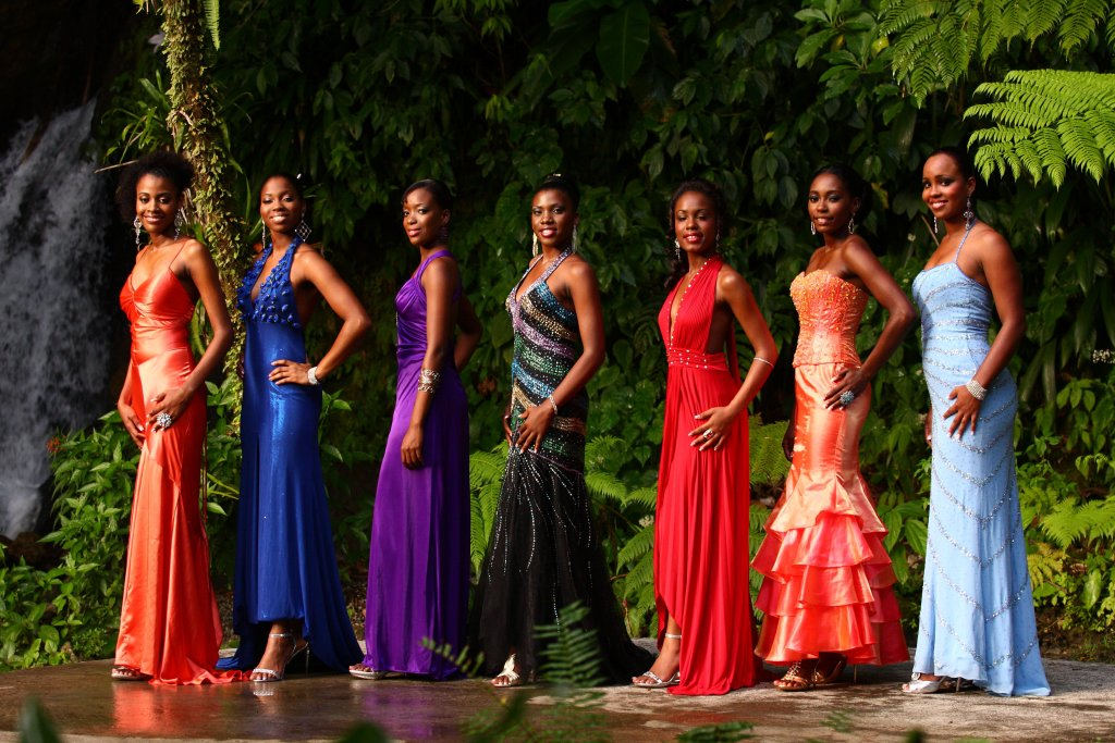 Pageant contestants in evening gown